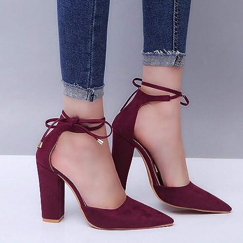 Moda y tamaño Tacones ásperos con Correa Sandalias zapatos. (Color   Vino rojo, tamaño   38)