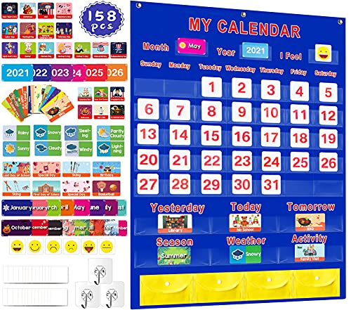 "Calendar and Weather Pocket Chart Set of 158  Large 35"" x 27.5"" Monthly Calendar Organizers for Kids Learning Resources/Toddler/Teacher/Preschool  Calendar Chart for Classroom Supplies  Home  School"
