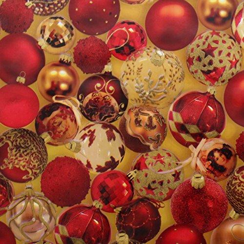 I Want Fabric Rosso e Oro Albero di Natale Vinile Tessuto in Tela Cerata PVC Natale Tavolo da Cucina, Utilizzabile Come tovaglie