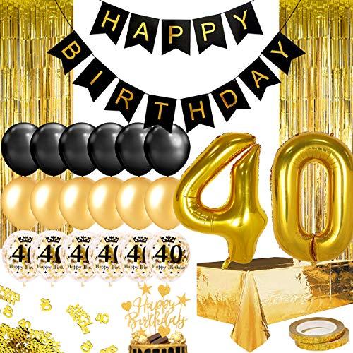 Humairc 40 Ans Décoration Fête Anniversaire or noir Joyeux Anniversaire Bannière 40 Numéro Ballon 40 pouces 2 Franges Rideau Feuille Nappe Décor Gâteau Confettis 10g pour Homme Femme