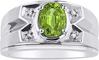 RYLOS Mens Ring with Oval Shape Gemstone & Genuine Sparkling Diamonds in Sterling Silver .925-8X6MM Color Stone