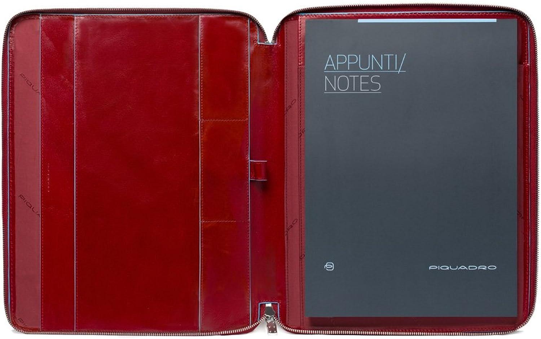 Piquadro A4 Notizbuch mit Reiverschluss In Leathe R, Rot, Einheitsgre