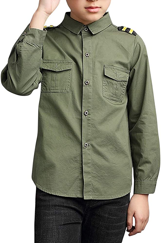 Phorecys Little Big Boys Uniform Long/Short Sleeve Button Down Cotton Shirt
