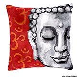 Vervaco Buddha Kreuzstichkissen/Stickkissen vorgedruckt, Baumwolle, Mehrfarbig, 40 x 40 x 0.3 cm