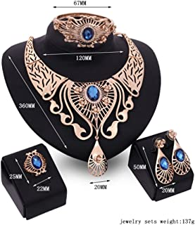 Tinksky Four-piece Jewelry Suit Crystal Rhinestone Diamond Necklace Earing Bracelet Ring Set Wedding Favors Gifts for Mothers (Royalblue)