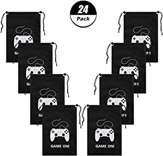 AhlsenL 24 Pack Video Game Bags Black Gaming Party BagsPattern White Gamepad Two Drawstring with Button Non-WovenFabrics forKids Birthday Party