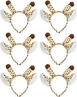 TOPTIE 6 PCS Giraffe Zoo Animals Ears Headband, Halloween Decor for Adults & Kids, Jungle Safari Animals Hair Hoop for Bir...