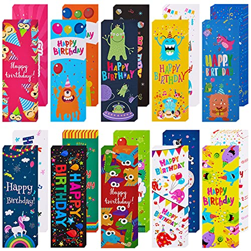 100 Pieces Happy Birthday Bookmarks Laminated Imaginative Colors and Patterns for Students Classroom Stationery Supplies