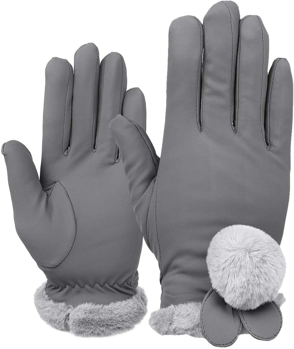 Lupovin-Keep Warm Ladies Winter Gloves Touch Screen Outside Sport Driving Raincoat Thermal Warm Gloves Non-Slip (Color : Gray)