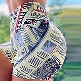 bayrick Celebridad de Internet Mismo Estilo,Noticias Periódico Impreso Yoga Pantalones Calientes Femenino Elástico Pantalones Cortos Deportivos-Amarillo_3XL