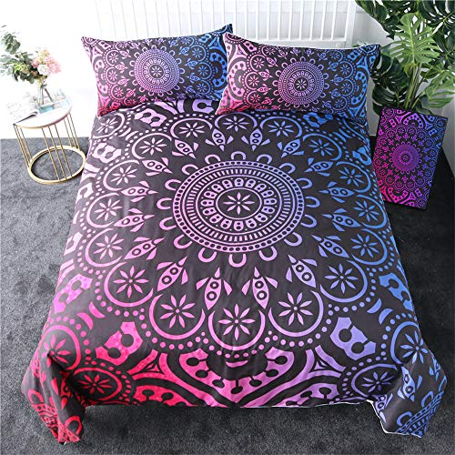 3 Pieces Bohemian Bedding Duvet Cover Set Twin Full Queen King Size Bedsheets Pillowcases Purple Red Single,228cmx228cm