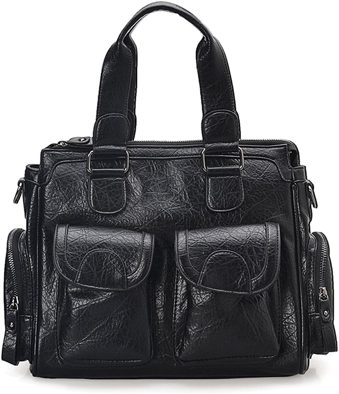Hoxis Multi Pocket Retro Faux Leather Satchel Everyday Shoulder Handbag Women Small Travel Duffel Bag