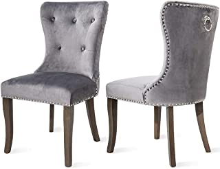 COZYWELL Dining Chair Set of 2, Upholstered Parson Chair Accent Chair Button Tufted Armless Chair with Nailhead Trim and Back Ring Pull (Velvet Grey)