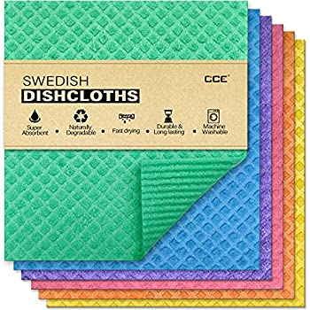 cce Swedish Dishcloths Cellulose Sponge Cloths 6 Pack Eco-Friendly Reusable Cleaning Dish Cloths for Kitchen Absorbent Swedish Dish Towels and Dish rag  Dishcloths - Assorted