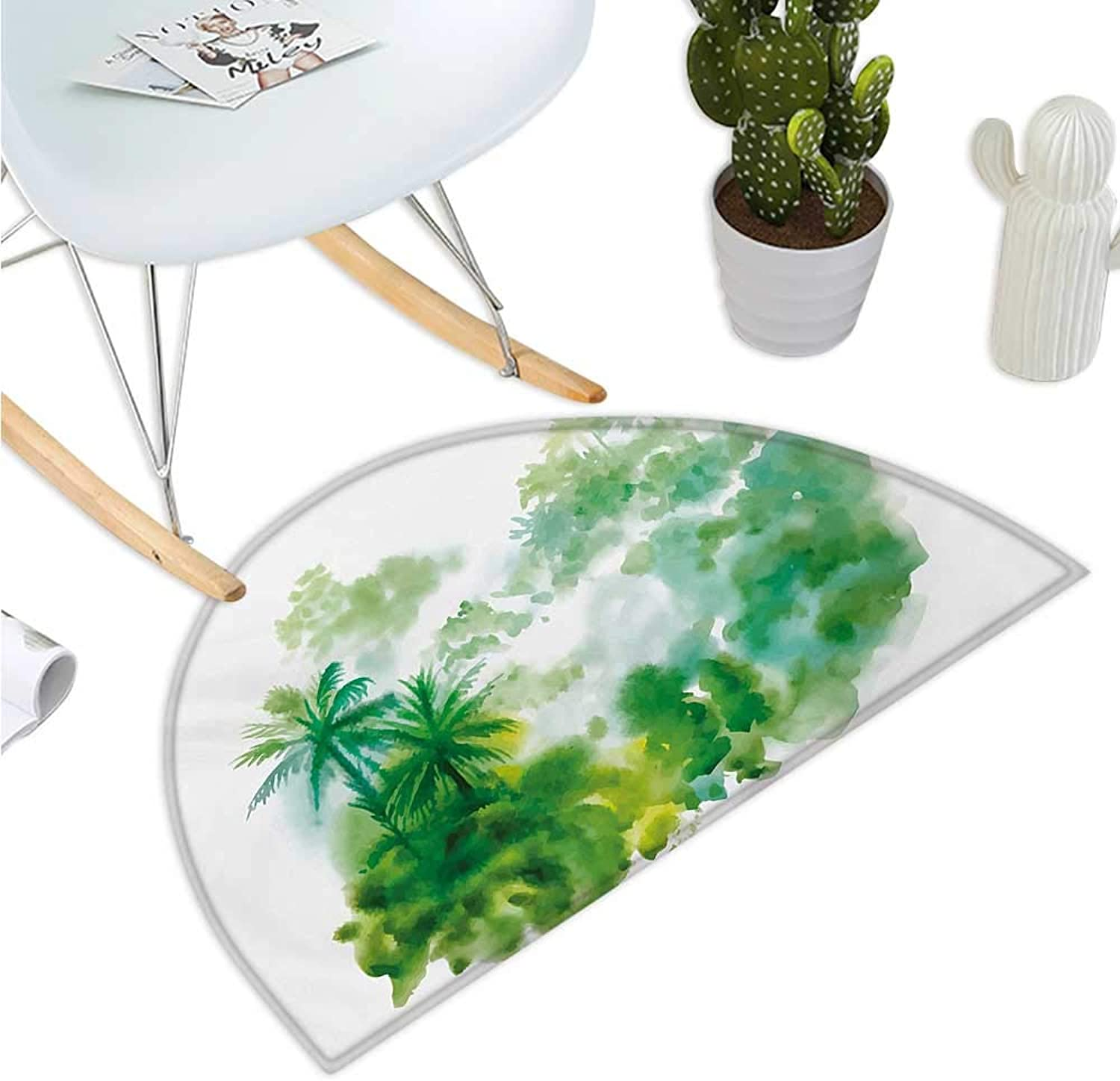 Green Semicircular Cushion Abstract Watercolor Artful Image of Forest Palm Trees Print Halfmoon doormats H 43.3  xD 64.9  Forest Green Pale Green and White