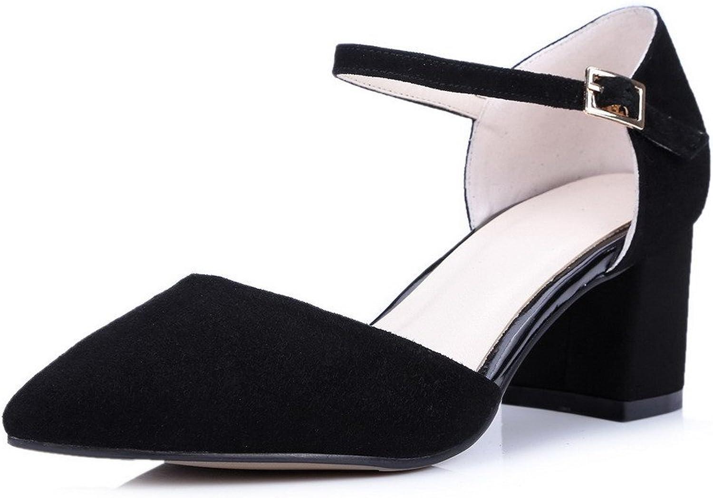 AmoonyFashion Women's Fabric Surface Solid Buckle Closed Toe Kitten-Heels Sandals