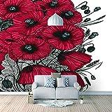 Papel Pintado 3D Murales Rosa roja- Fotomurales Para Salón Natural Landscape Foto Mural Pared, Dormitorio Corredor Oficina Moderno Festival Mural 450x300 cm - 9 tiras