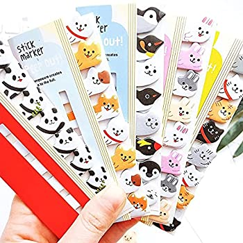 Houchu 8 Set Kawaii Memo Pad Cute Animals Sticker Bookmarks Memo Pad Index Self-Stick Tab Stationery Cartoon Office School Supplies