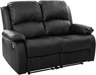 Artiss 2 Seater Reclining Chairs Leather Recliner - Black