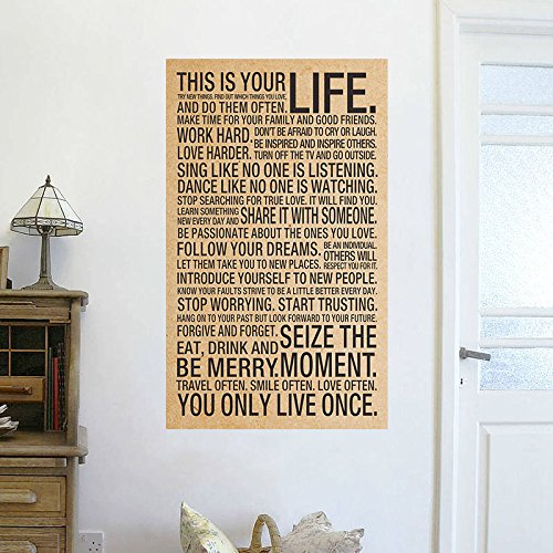 wandaufkleber schlafzimmer Wall Sticker Quotes This Is Your Life Sayings Motto Quote Silk Poster 17X28Inch Art Wall Decor Large Wall Stickers für Wohnzimmer Schlafzimmer