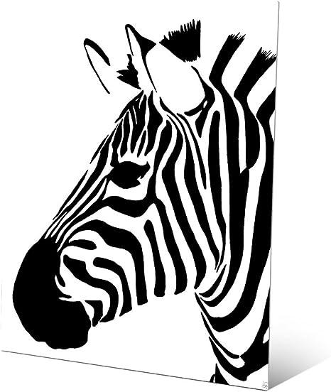 Minimalist Zebra Black Pop Art Graphic Illustration Of Head Of Zebra Wall Art Print On Metal Posters Prints