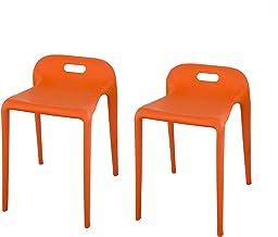 同色2脚セット ジェネリックチェア ダイニングチェア カフェ 椅子 子供 お風呂 バスチェア 背もたれなし 屋外用 (オレンジ)