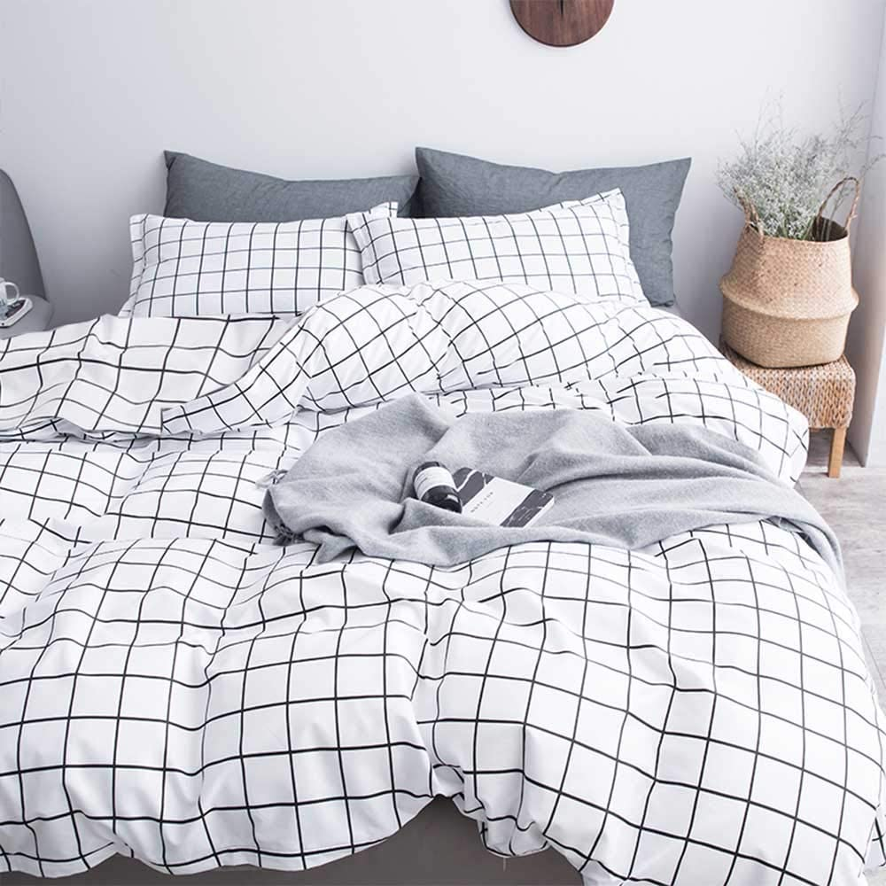 Nanko Queen Duvet Cover Set Grid, 90x90 Soft Bedding Cover, Luxury Cool Lightweight Microfiber 3pc Set (1 Cover 2 Pillowcase) with Zip, Tie - Modern Style Bed Quilt Cover for Decor, Plaid White : Home & Kitchen