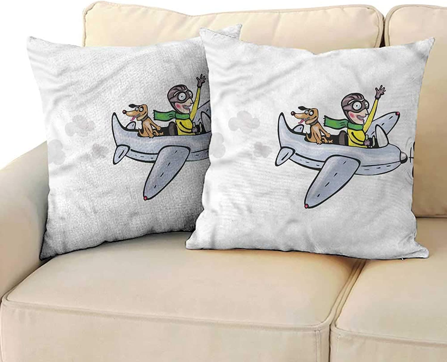 RuppertTextile Boys Room Simple Pillowcase Air Doodle Style Flight Cushion W23 x L23