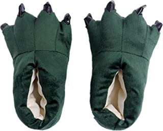 Japsom Unisex Cozy Flannel House Monster Slippers Halloween Animal Costume Paw Claw Shoes