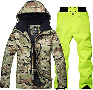 Men's High Waterproof Windproof Snowboard Camouflage Ski Jacket Pants Set Windbreaker Hiking Mountain Clothing,B,S