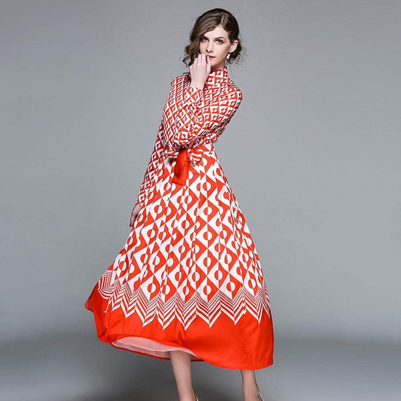 Cxlyq Dresses Women's Long Paragraph Large Swing Skirt Dress Printed Lapel Long Sleeve Slim Slimming