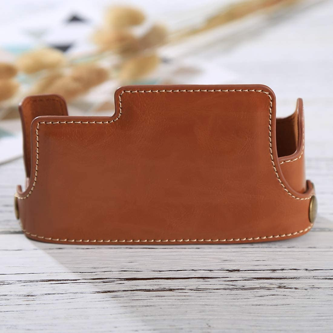 Color : Brown 1//4 inch Thread PU Leather Camera Half Case Base for FUJIFILM X-E3 Reliable