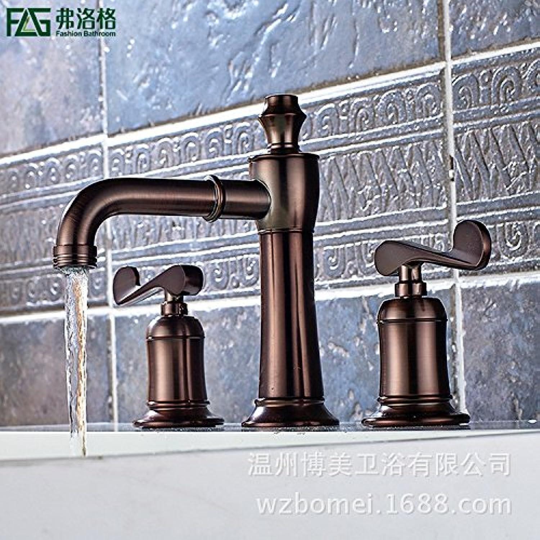 LHbox Bad Armatur in Bad für Waschbecken Waschtisch Wasserhahn Waschtischarmatur Das Kupfer Braun 3-Teilige Badezimmer Armatur Waschbecken Kalt Wasserhahn