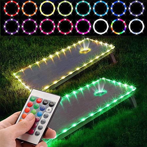 GYAM Luces LED Cornhole, RGB 16 Colores Cornhole Board Edge y Luces de Tiras de Agujeros con Control Remoto para Juegos Familiares al Aire Libre, 2 Juegos