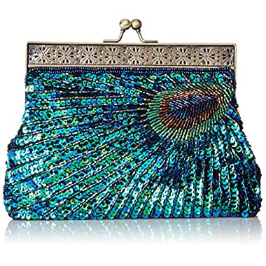 MG Collection Nisha Beaded Sequin Peacock Clutch, Blue, One Size