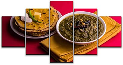 Canvas Wall Art, makki di roti and sarso ka saag meccas and pictures Picture Painting on Canvas Framed Artwork for Living Room Bedroom Office Home Decor - 5 Panel (150 x 80 cm)