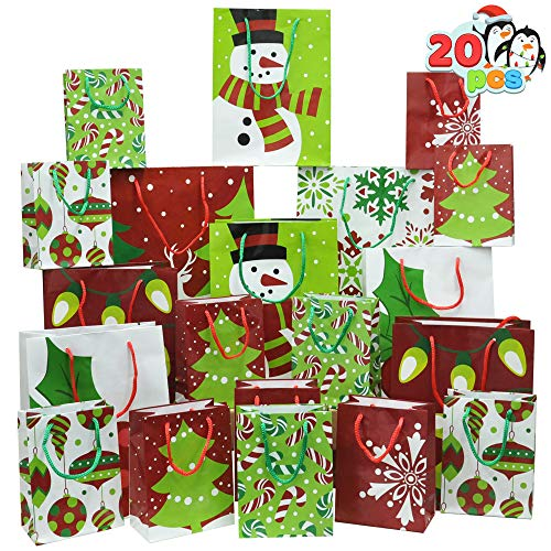 20 Christmas Goody Gift Bags with Handles Assorted Sizes, Holiday Paper Goodie Bag for Xmas Gift-Giving, Classroom and Party Favors