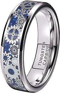 6mm 8mm Silver/Black Tungsten Rings for Men Women...