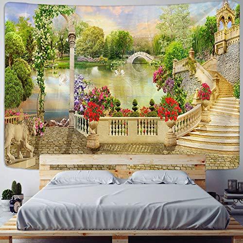 Tapiz de mandala decoración de edificio de castillo indio tela de pared bohemia para colgar en la pared tela de fondo de habitación a5 73x95cm