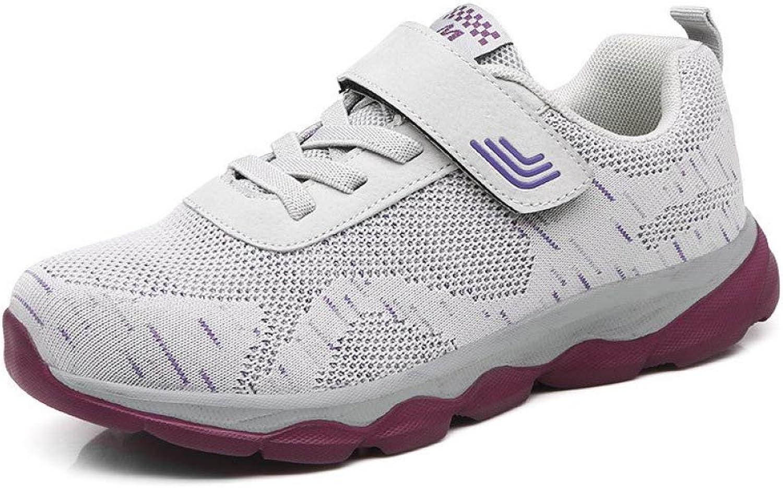 U-MAC Womens Rubber Sole Hook & Loop Sneakers Air Mesh Breathable Chunky Platform Comfort Slip-On Fitness shoes