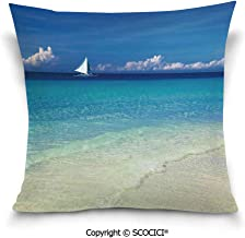 SCOCICI Double-Sided Digital Printing Couch Pillowcase Exotic Tropic Beach in Philippines Island Horizon Summer Paradise Concept Pillow Cover Hidden Zipper Customized