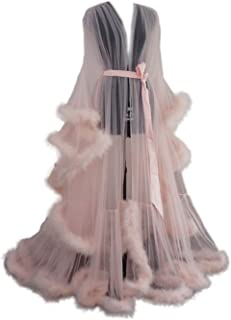 Old Hollywood Feather Robe Sexy Boudoir Robe Feather Bridal Robe Tulle Illusion Long Wedding Scarf New Custom Made