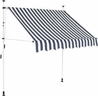 mewmewcat Toldo para Patio Balcón Toldo Manual 150 x 120 x (200-300) cm Azul y Blanco