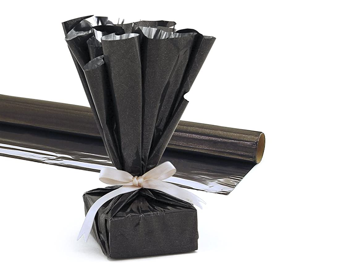 Hygloss Products Mylar Gift Wrap Roll - Great for Gift Bags, Baskets – 24 Inch x 8.3 Feet, Black