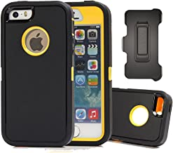 iPhone SE Case, Harsel Defender Heavy Duty Rugged Armor Scratch Resistant Full Body Protective Military w' Belt Clip Built-in Screen Protector Case Cover for iPhone SE/iPhone 5s- Black/Yellow