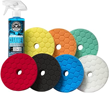 Chemical Guys BUFX700 Hex-Logic Quantum Best of the Best Buffing and Polishing Pad Kit, 16 fl. oz (8 Items) (5.5 Inch Fits 5 Inch Backing Plate)