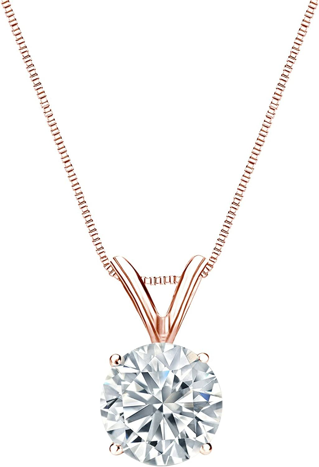 14k Rose Fort Worth Mall Gold 4-Prong Basket It is very popular Solitaire Diamond 1 Round Pendant