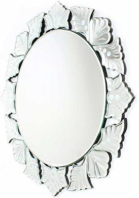 IndianShelf Handmade Clear Glass Round Cut Wall Venetian Mirror (1 Piece)