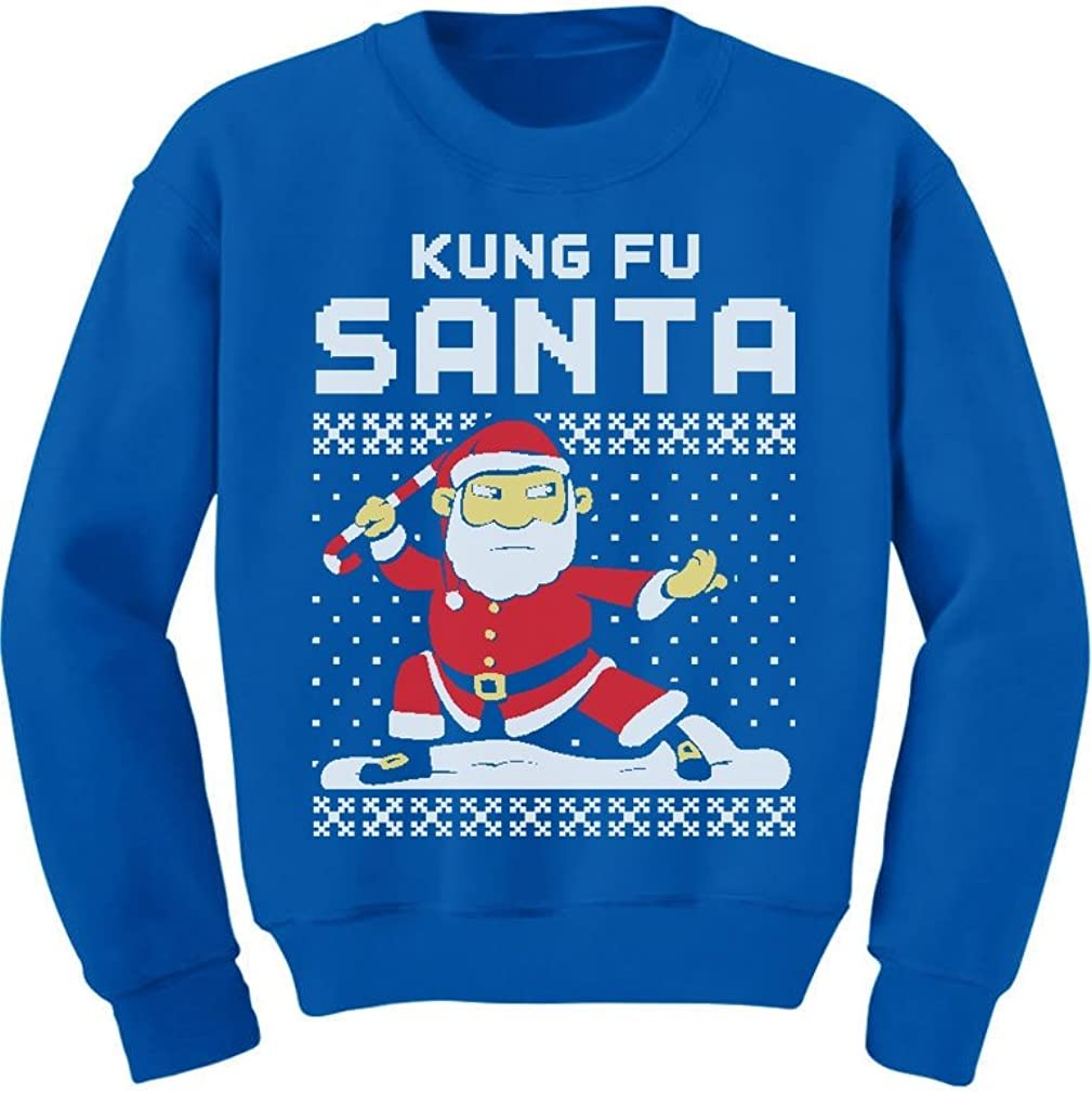 Kung Fu Santa Ugly Christmas Sweater Funny Toddler Kids Sweatshirts