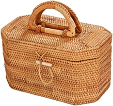 YAYADU Storage Basket Rattan Finishing Box Carry Handle Shopping Basket Home School Dressing Table Store Toy Key Dessert (...